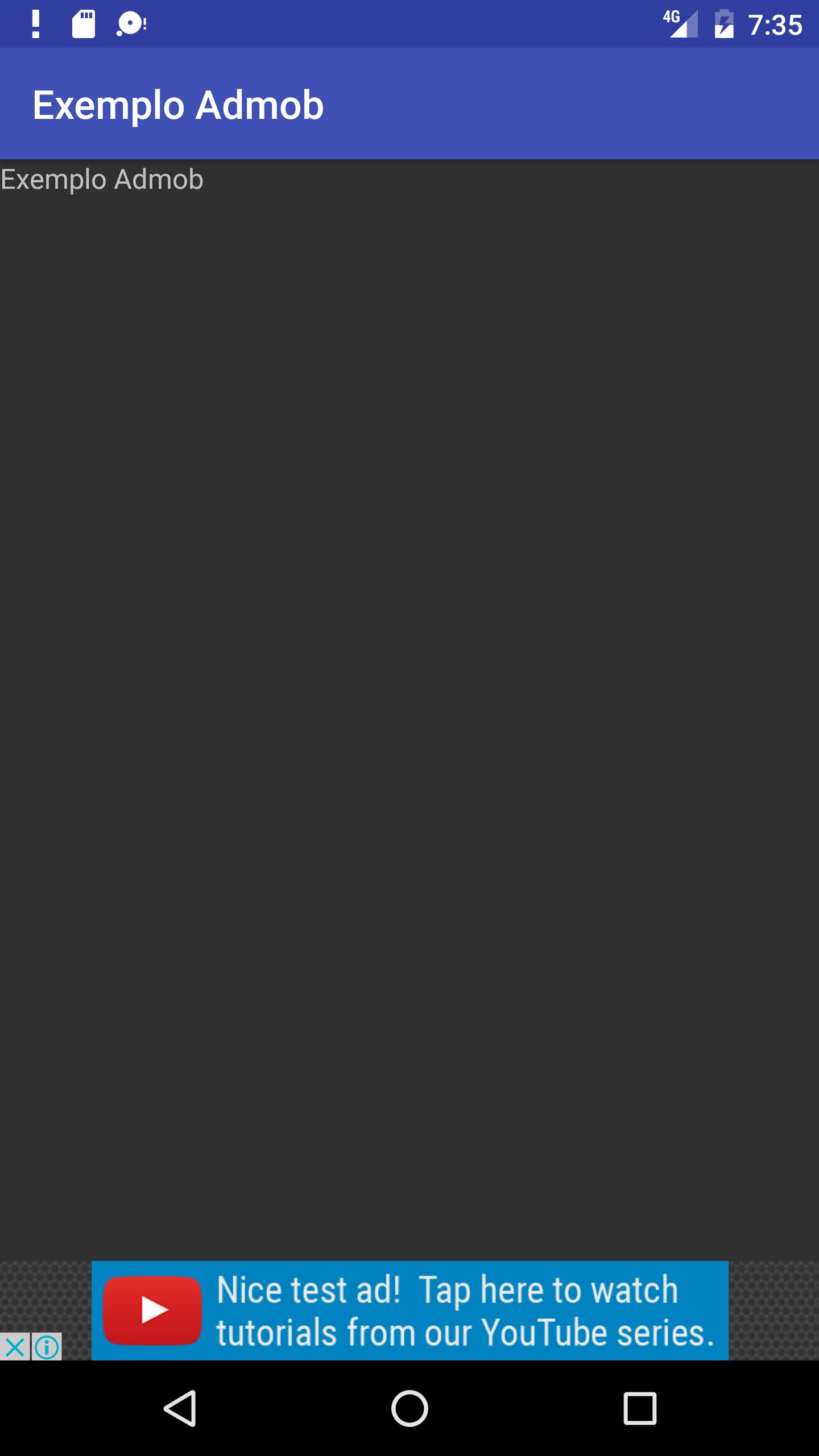 exemplo admob tela